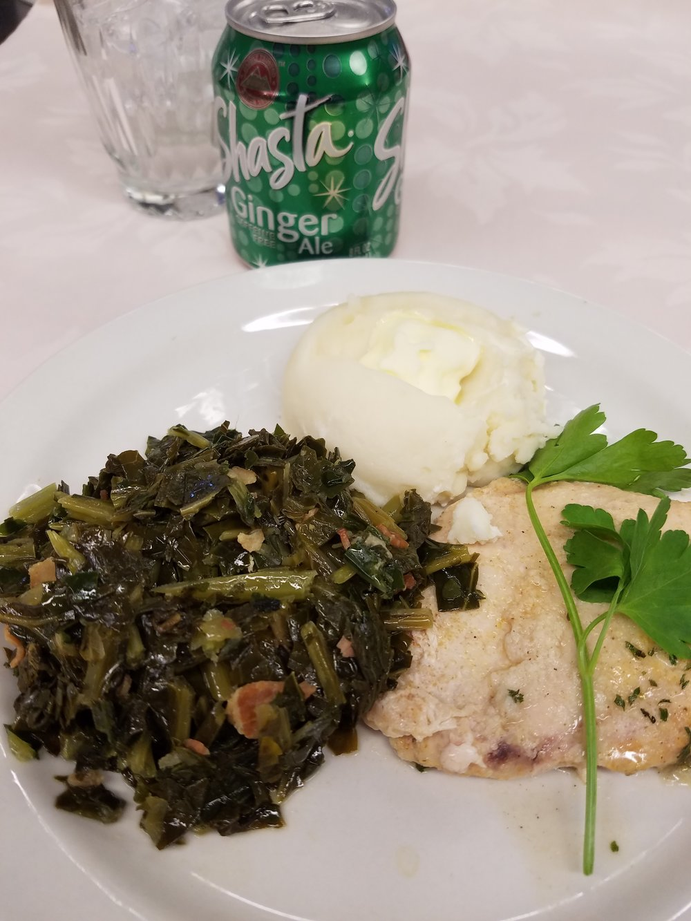 Baked Rosemary Chicken with Collard Greens and Mashed Potatoes