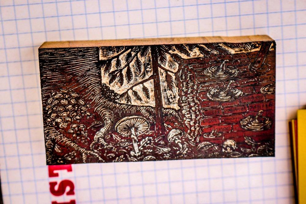 Hand-Carved Wood Engraving Block