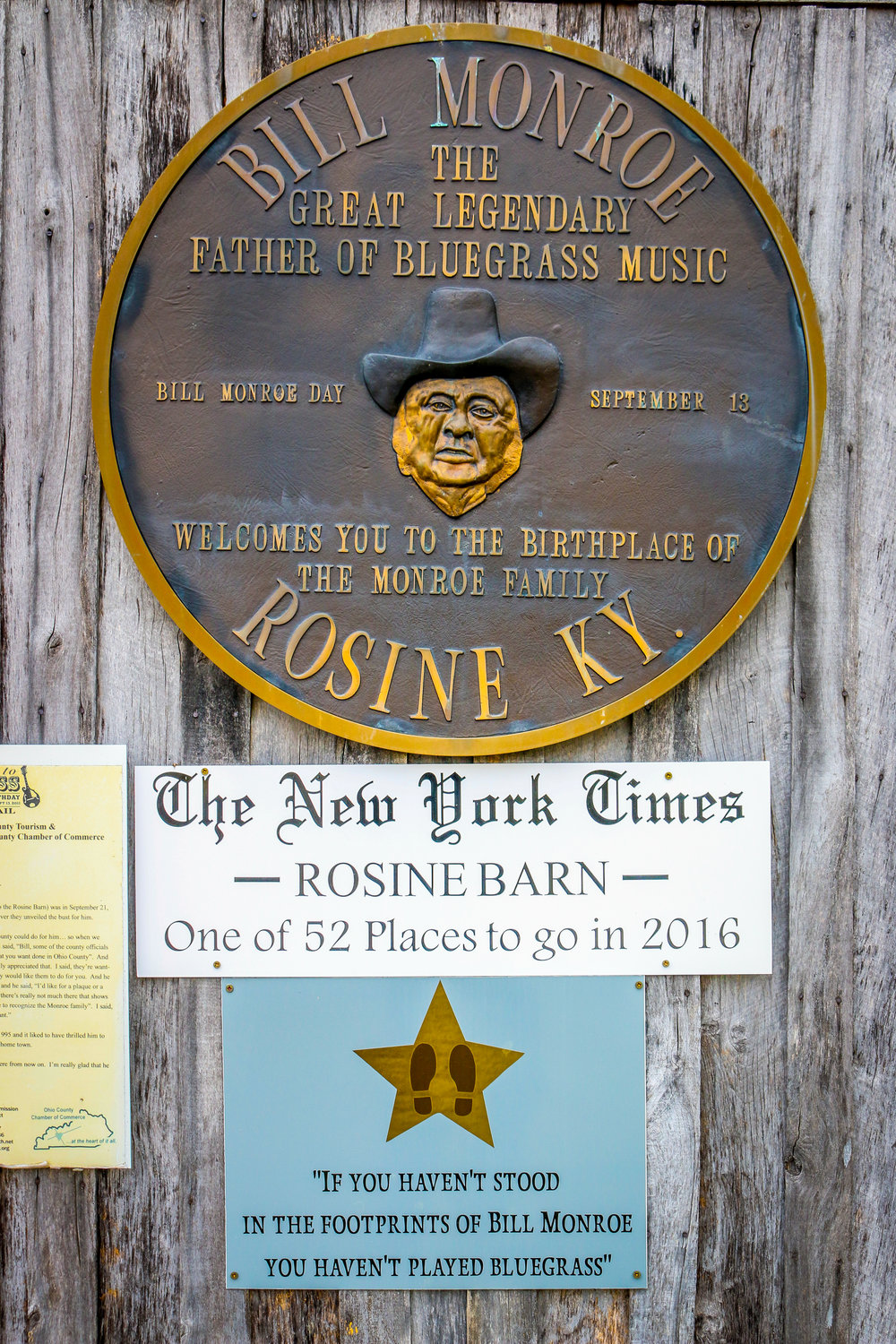 Bill's Plaque at the Barn Jamboree