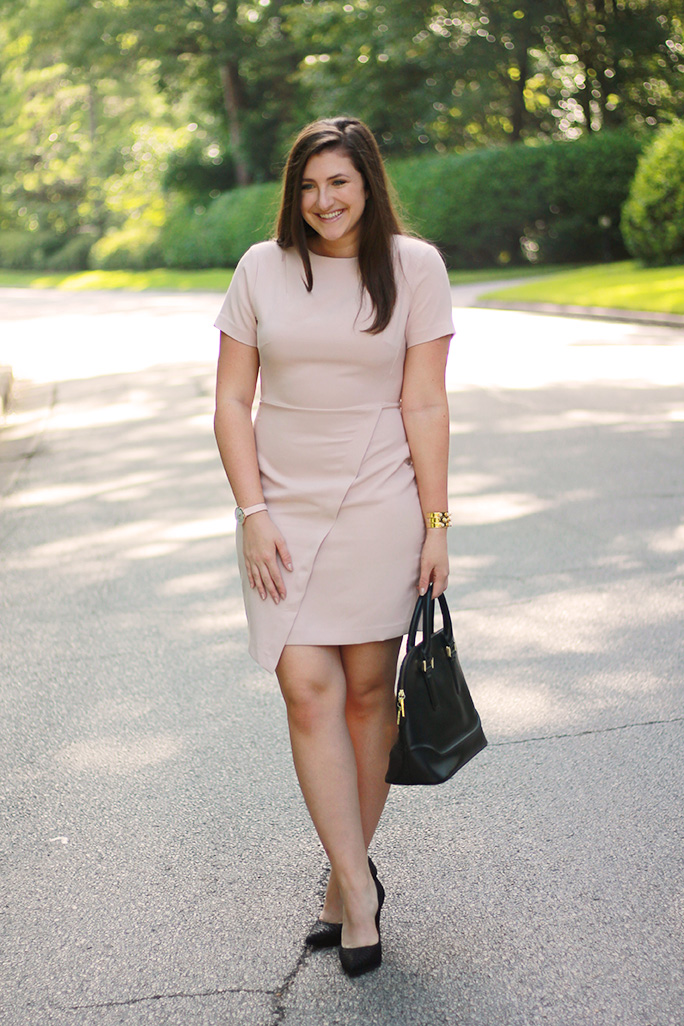 nude asymmetrical dress
