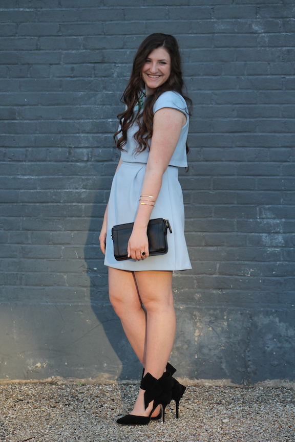 blue asos cocktail dress