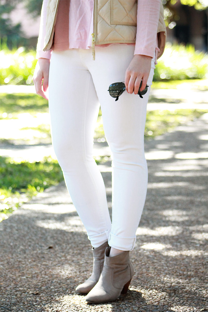Winter white jeans with a pastel pink sweater