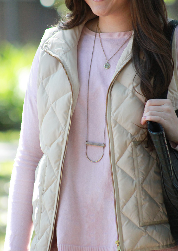 J.Crew puffer vest paired with spring hues