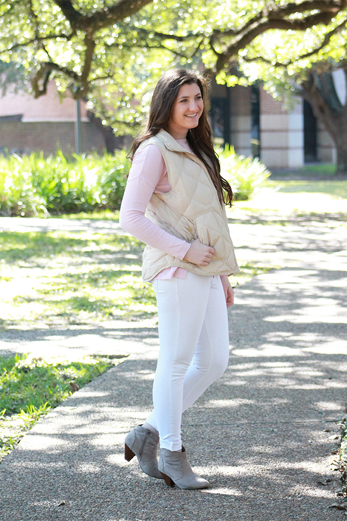 Pink sweater with a vest and booties