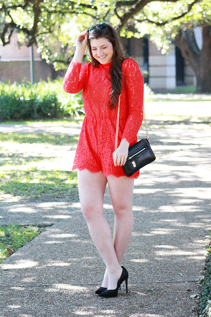 H&M red lace romper