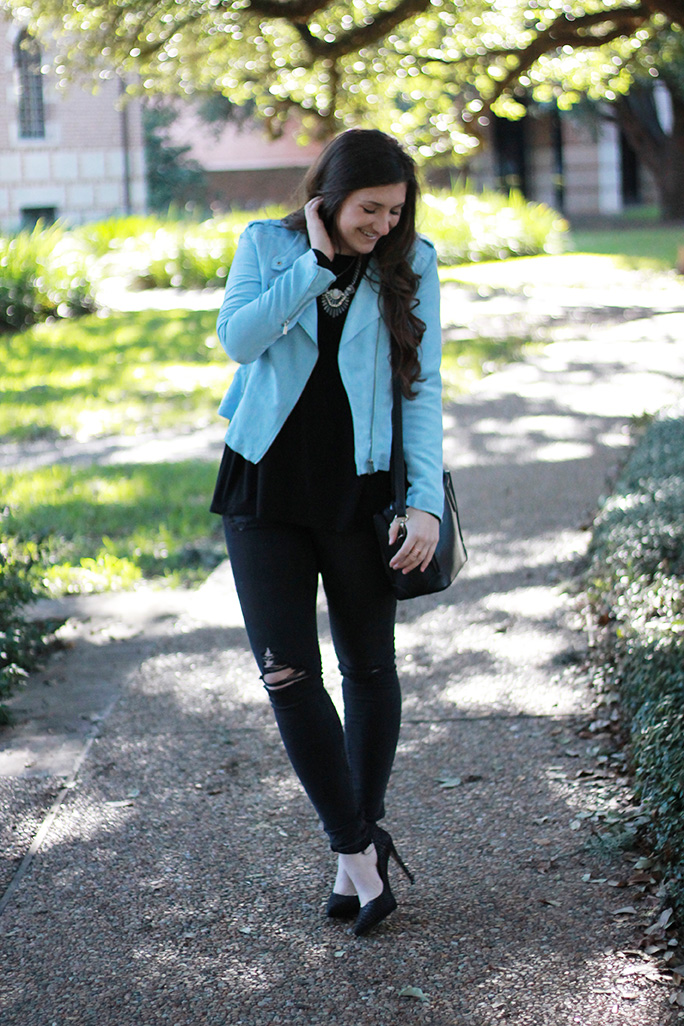 lightweight blue suede jacket + ripped black skinnies