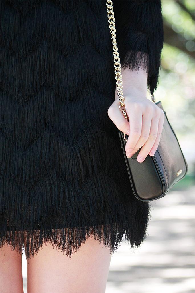 Alexis chevron fringe dress with Rebecca Minkoff handbag