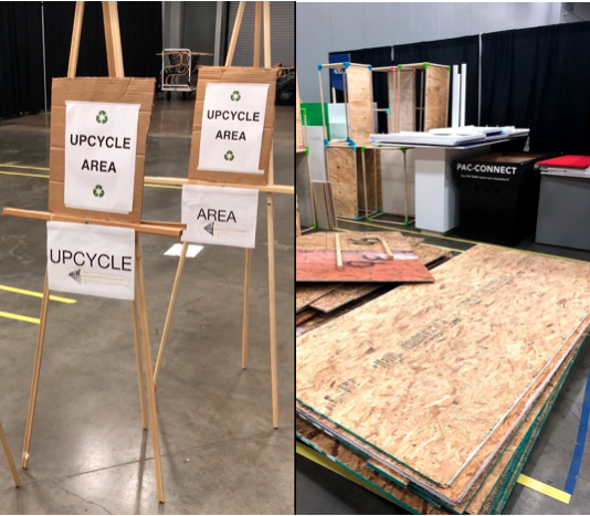 The UpCycle area at South by Southwest's Trade Show - a collaborative effort between the Austin Materials Marketplace team, South by Southwest, and Austin Resource Recovery.