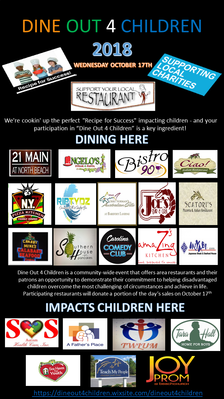 DINE OUT 4 CHILDREN - WEDNESDAY OCTOBER 17, 2018Website: https://dineout4children.wixsite.com/dineout4childrenWe're cookin' up the perfect