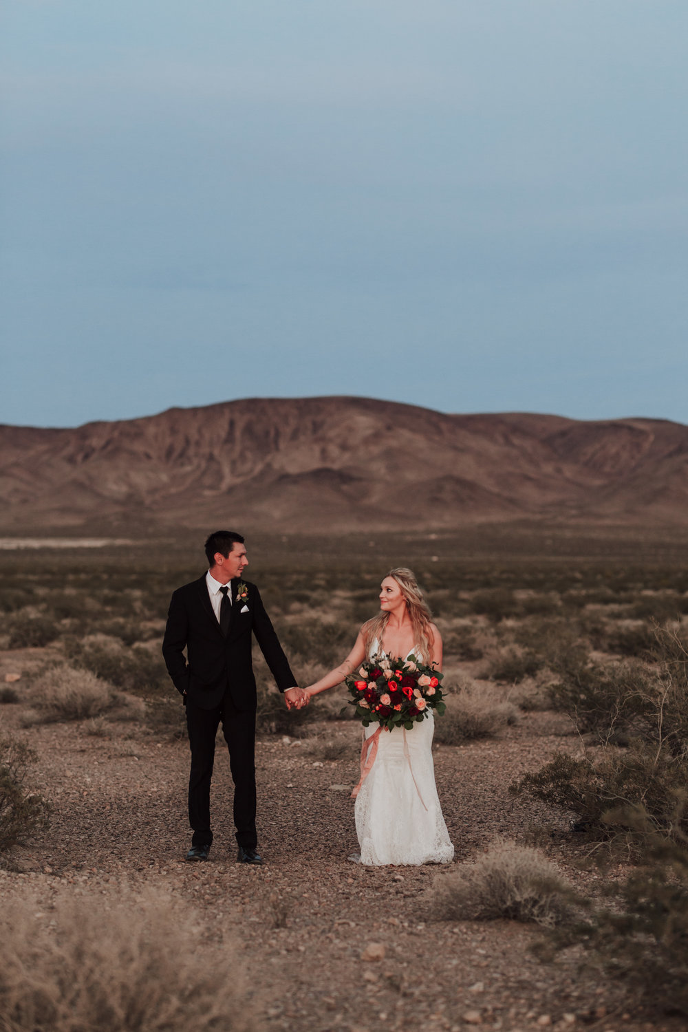 Rustic Bloom Photography | Las Vegas Desert Elopement | Emotional Vows