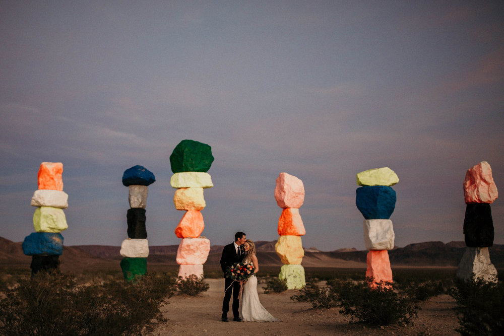 Rustic Bloom Photography | Las Vegas Desert Elopement | Seven Magic Mountains