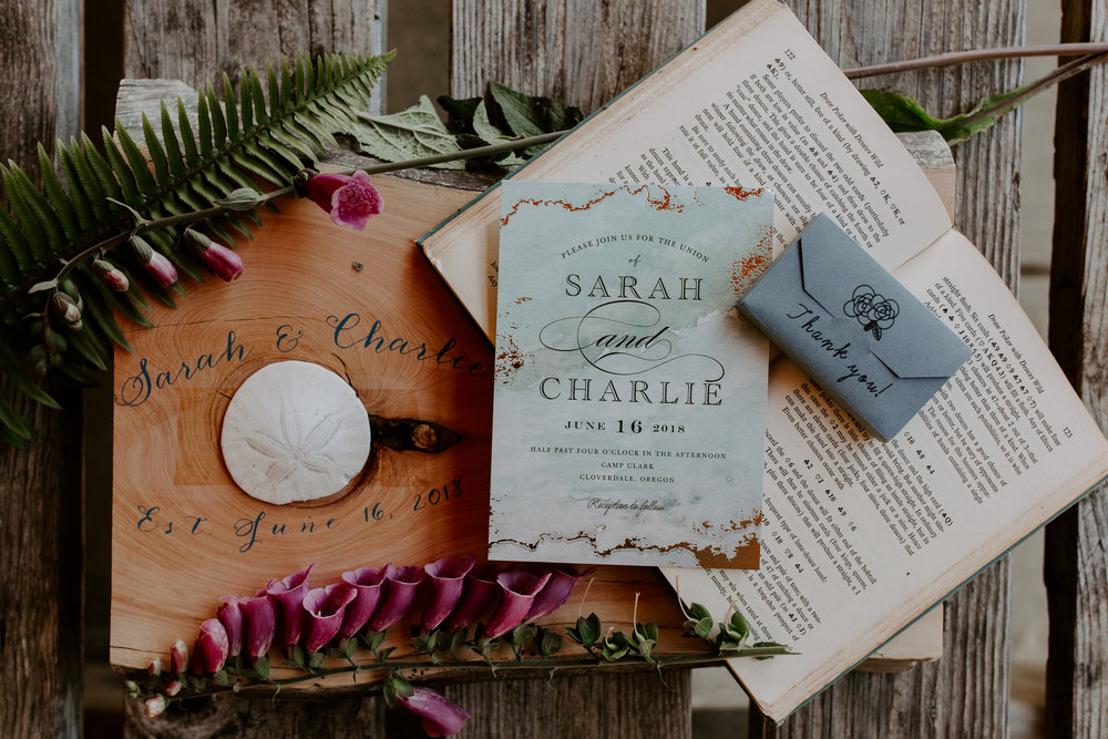 Oregon Wedding Photographer | Floral Wedding Invites   | Rustic Bloom Photography