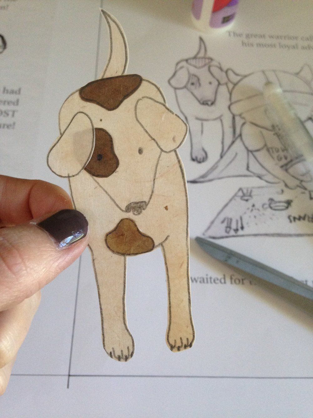 Illustrating my own dog Sally into the book.