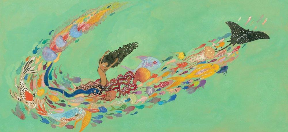Interior spread from  Julián is a Mermaid