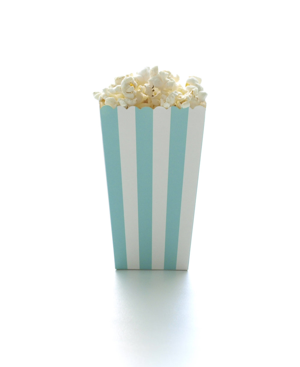 Aqua Blue Stripe Wedding Favor Popcorn Box (12 Pack) — Food With Fashion
