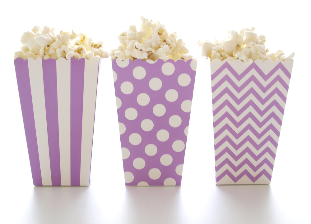 purple popcorn favor boxes stripe chevron polka dot 36 pack