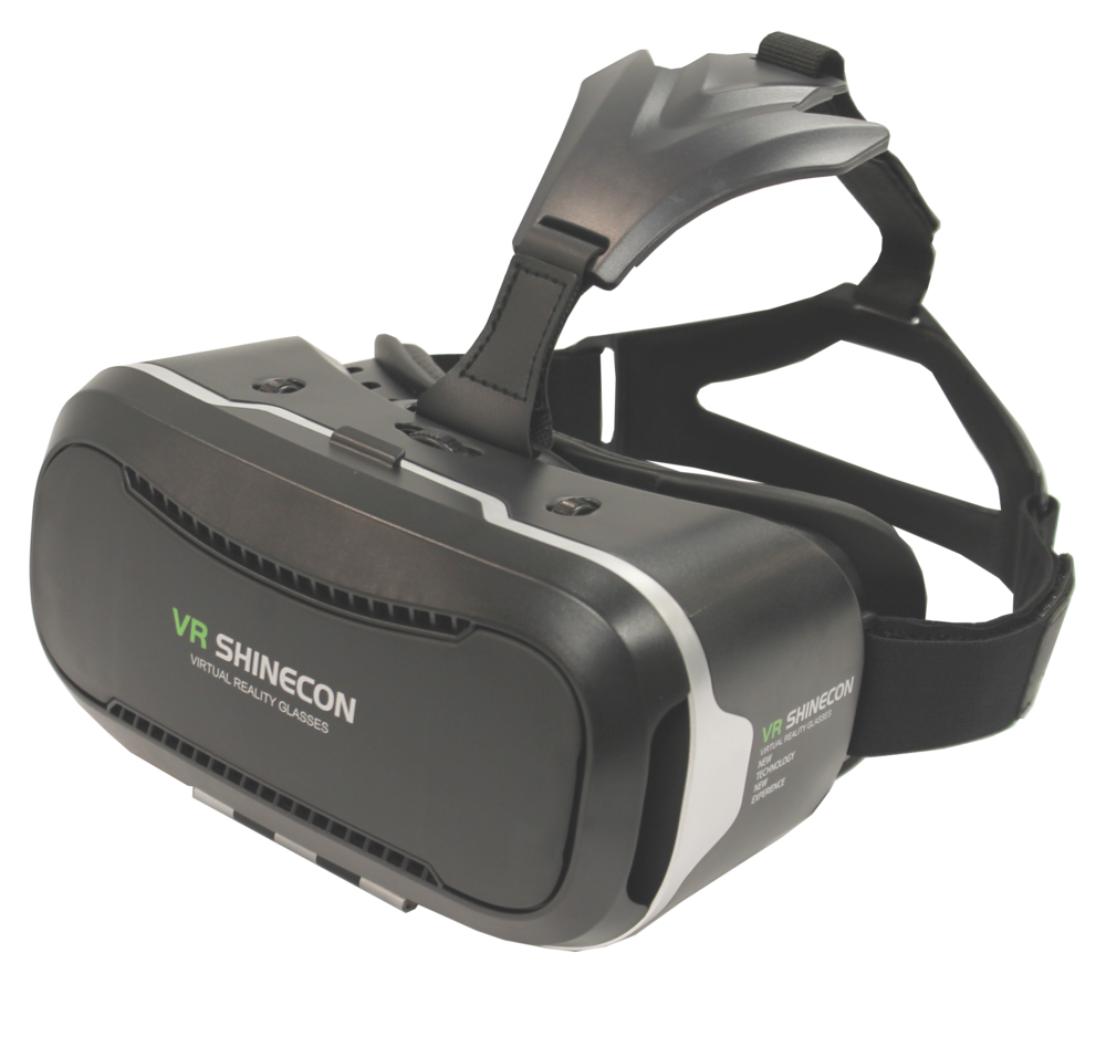 VR Shinecon Black Virtual Reality Headset is wide enough to fit over most eyewear.