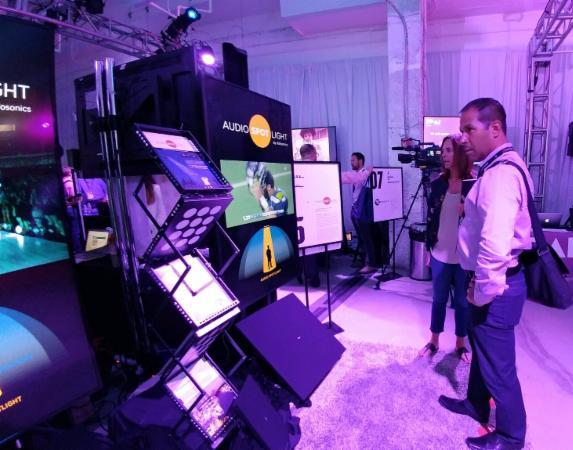 Ad Week 2017: TechX attendees experience Audio Spotlight technology at the Holosonics booth