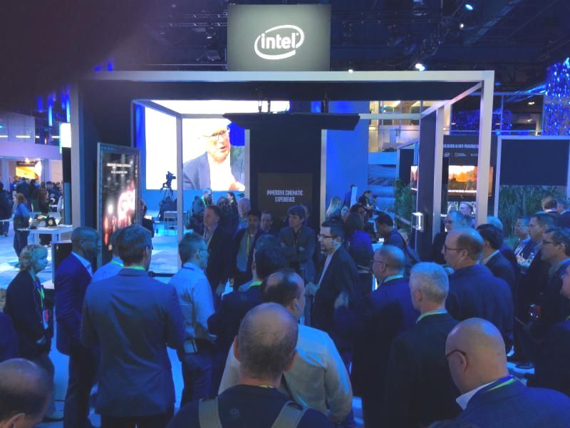 The crowd gathers outside the Intel booth at CES 2019