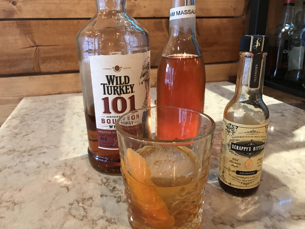 House Old Fashioned $10 Wild Turkey Garum Masala Syrup Fee Brothers Old Fashioned Bitters Orange Garnish
