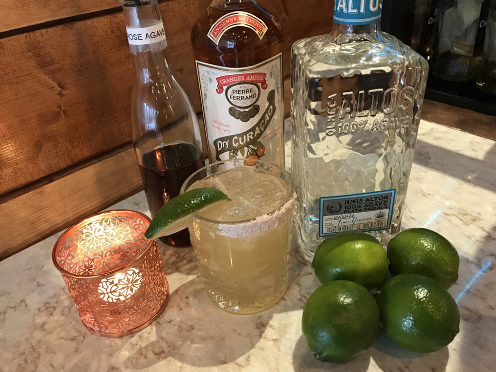 Indian Daisy $10 Altos Tequila & Lime Pierre Ferrad Dry Curacao Floral Agave  (Agave infused with Rse) Black Salt Rim