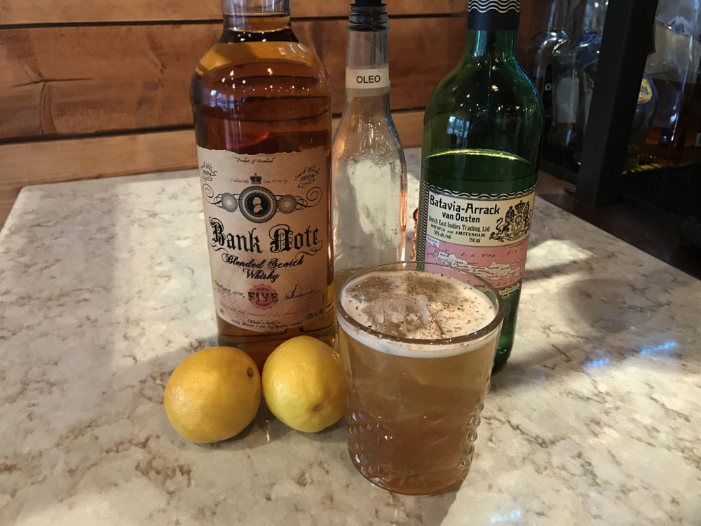 India meets New Haven $10 Bank Note  Scotch Batavia Arrack Citrus Oleo Saccharum Black Tea & Nutmeg