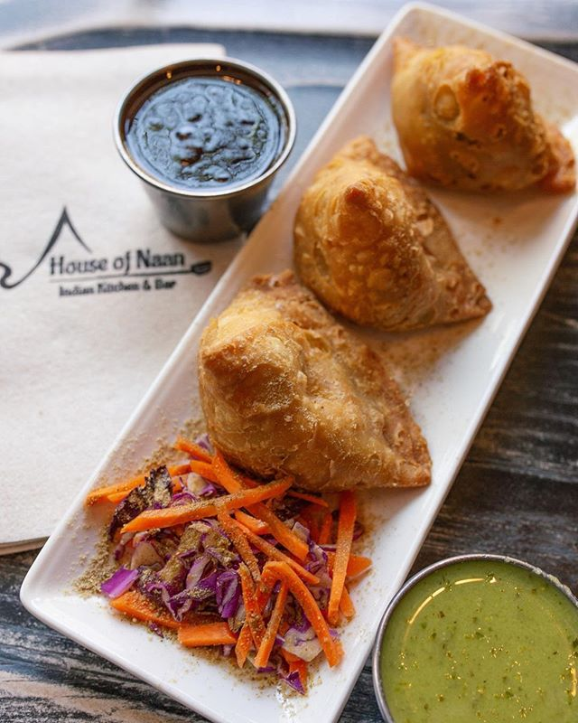 Enjoy $5 small plates everyday during happy hour! #happyhour #vegsamosa #indiantapas #freshspices #nhveats #nhv #newhaven #yale #cteats #cteatsout #madeinnewhaven