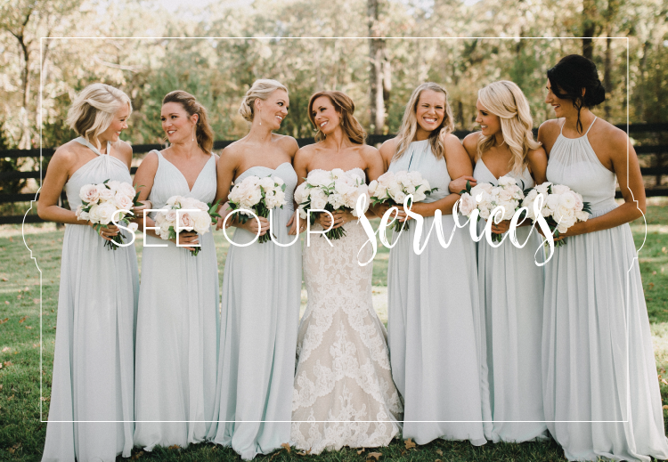 Link to wedding planning services page, illustrated with photo of bridesmaids in dusty blue dresses with ivory bouquets.
