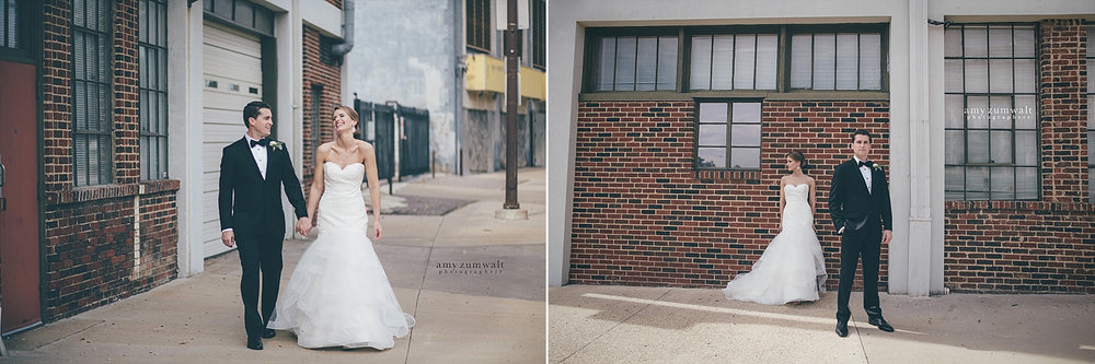 Bride and groom in downtown dallas wedding pictures