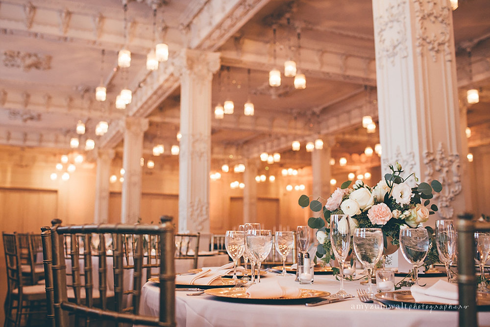 Dallas Scottish Rite Library and Museum wedding Crystal Ballroom white and blush flowers