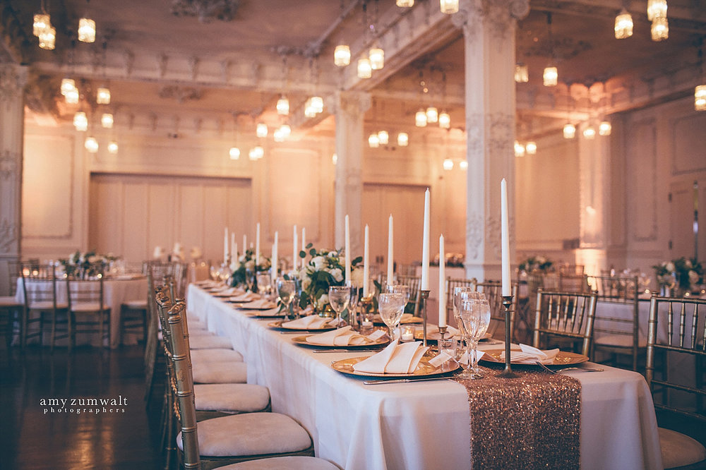 Dallas Scottish Rite Library and Museum wedding crystal ballroom head table with sequin linen and tapered candles