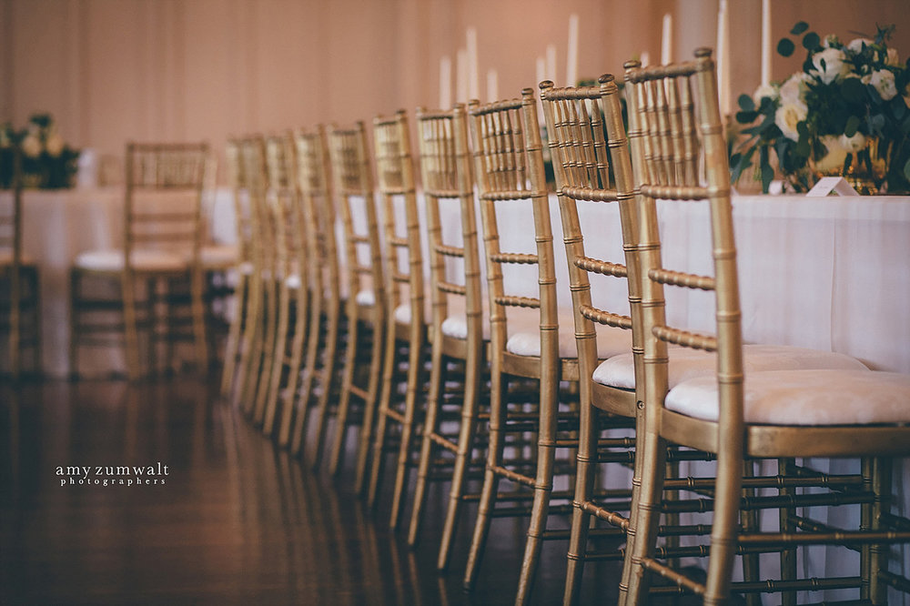 Dallas Scottish Rite Library and Museum wedding crystal ballroom gold chivari chairs