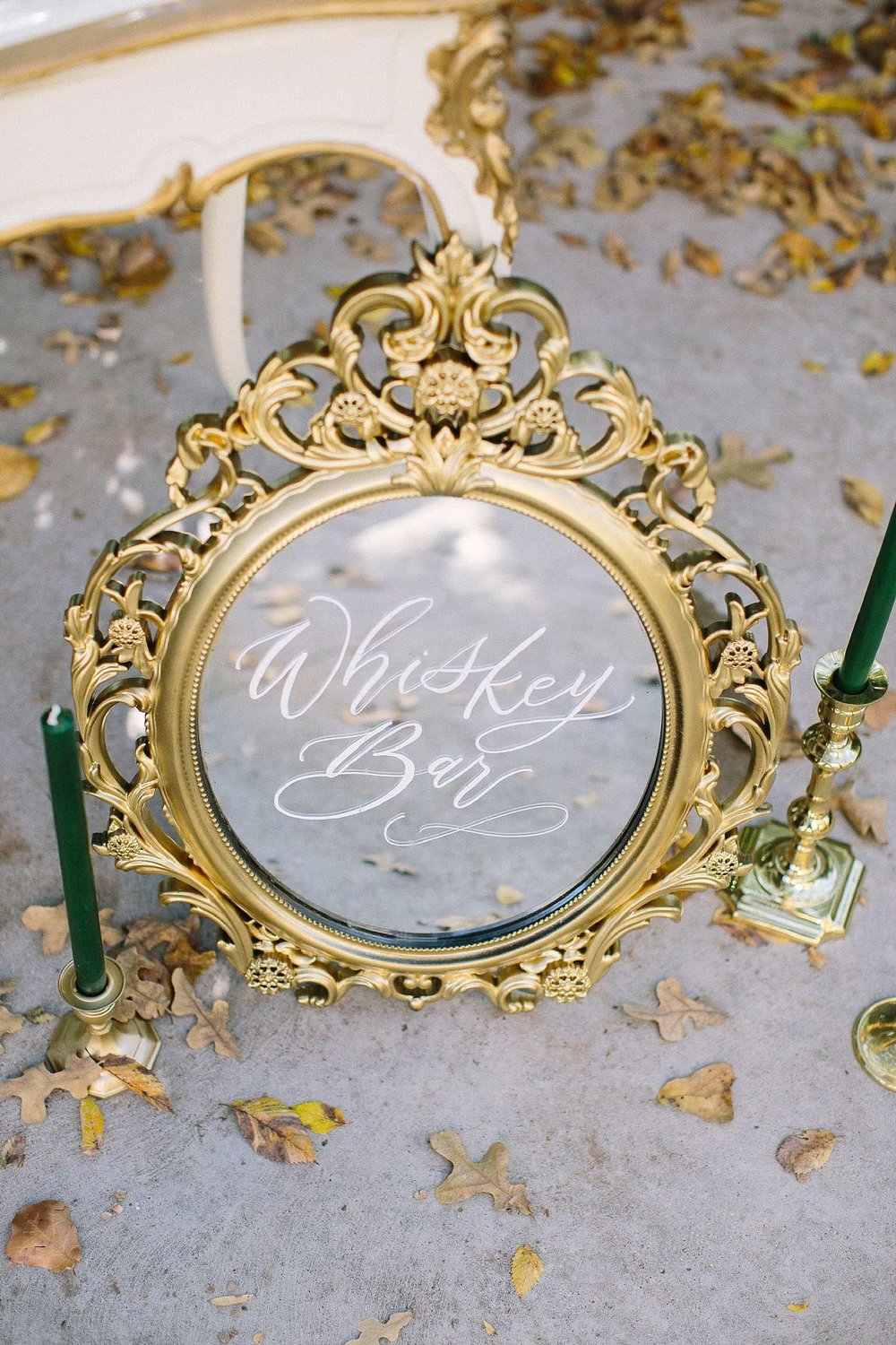 aristide mansfield wedding whiskey bar mirror sign