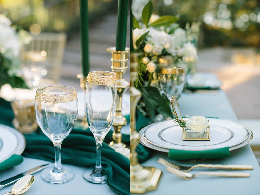 aristide mansfield wedding grey reception table with gold goblets