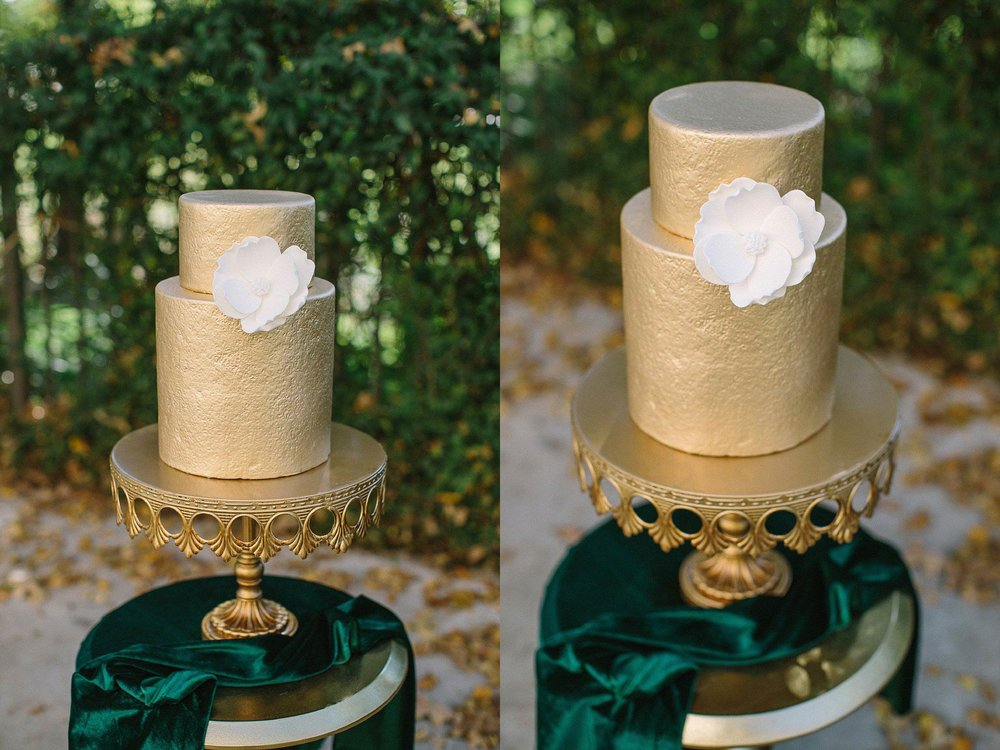 aristide mansfield wedding gold wedding cake with white magnolia