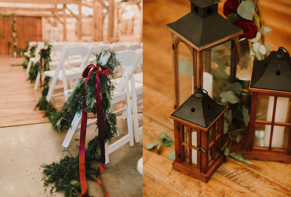 Hollow Hill Farm Event Center Wedding evergreen garland and wooden lanterns