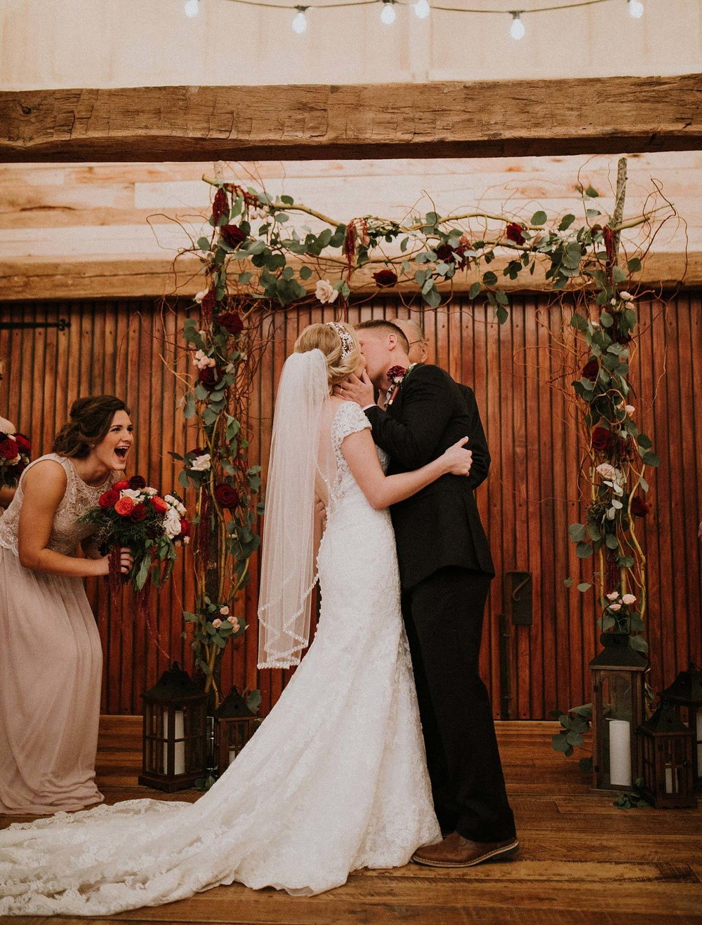 Hollow Hill Farm Event Center Wedding bride and groom first kiss
