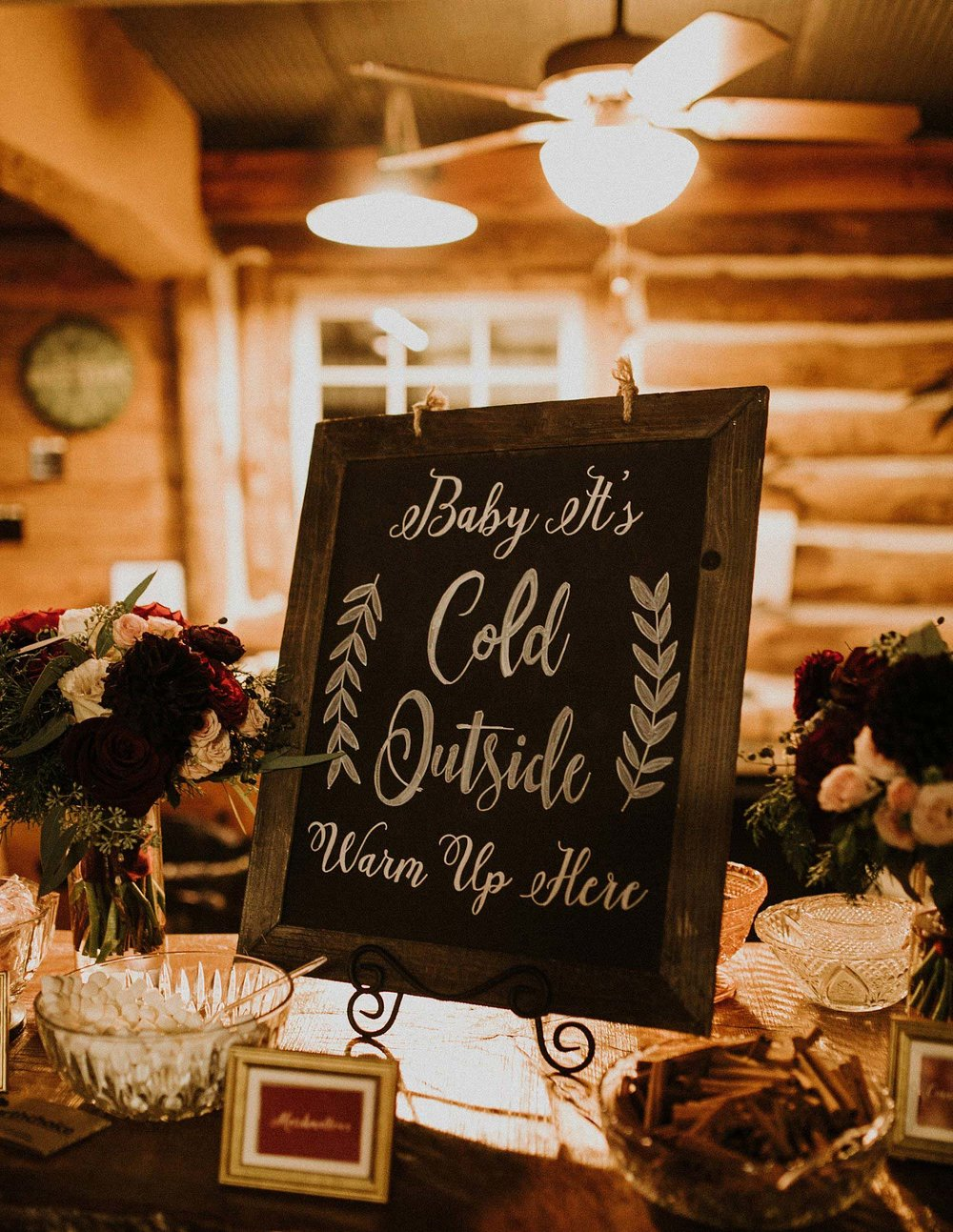 Hollow Hill Farm Event Center Wedding coffee bar chalkboard signage with wood frame