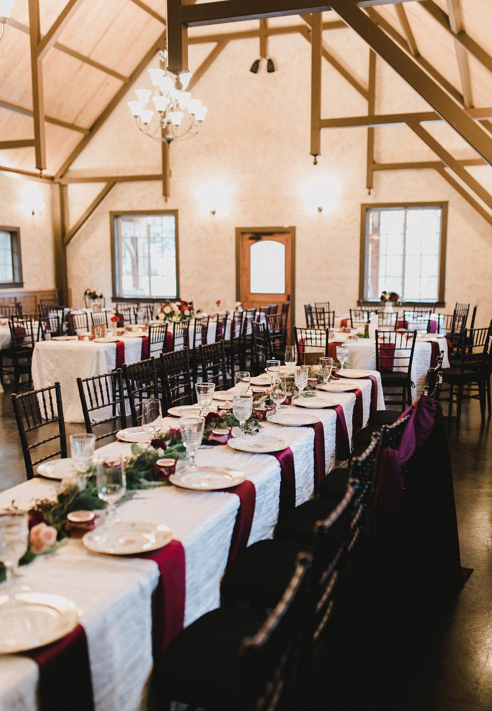 Hollow Hill Farm Event Center Wedding great room reception head table