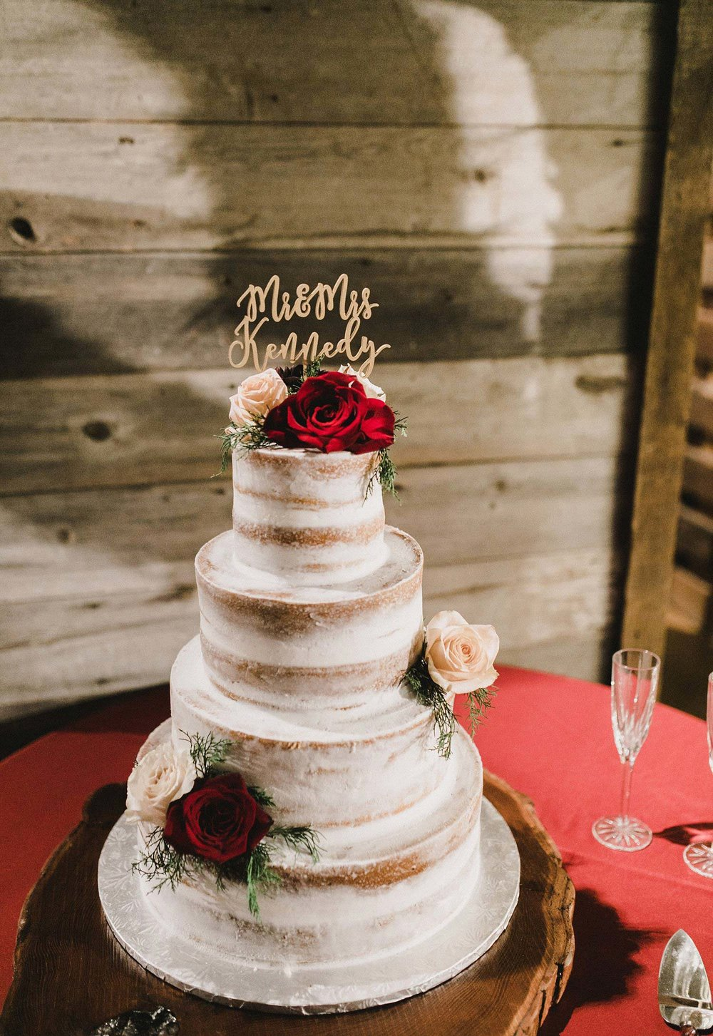 Hollow Hill Farm Event Center Wedding naked cake with Red flower in old town