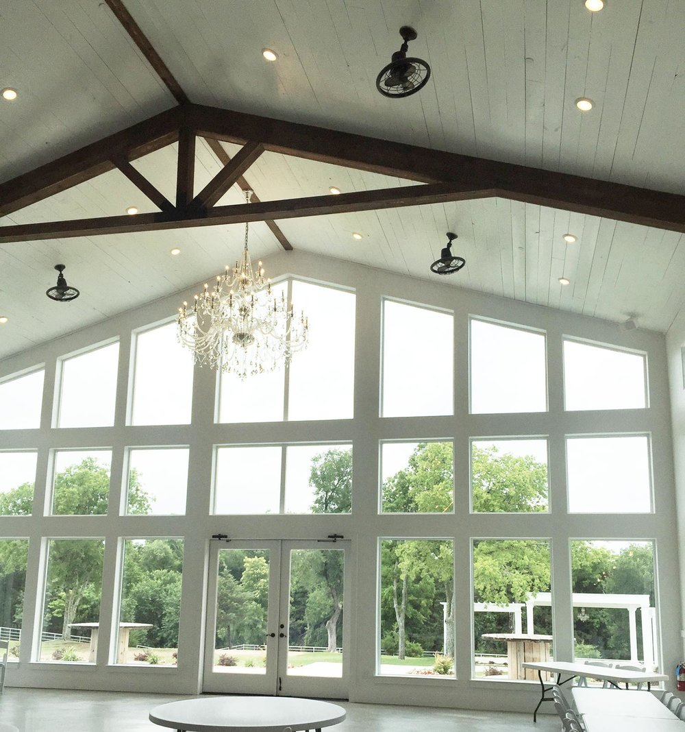 Firefly Gardens white barn with tall windows