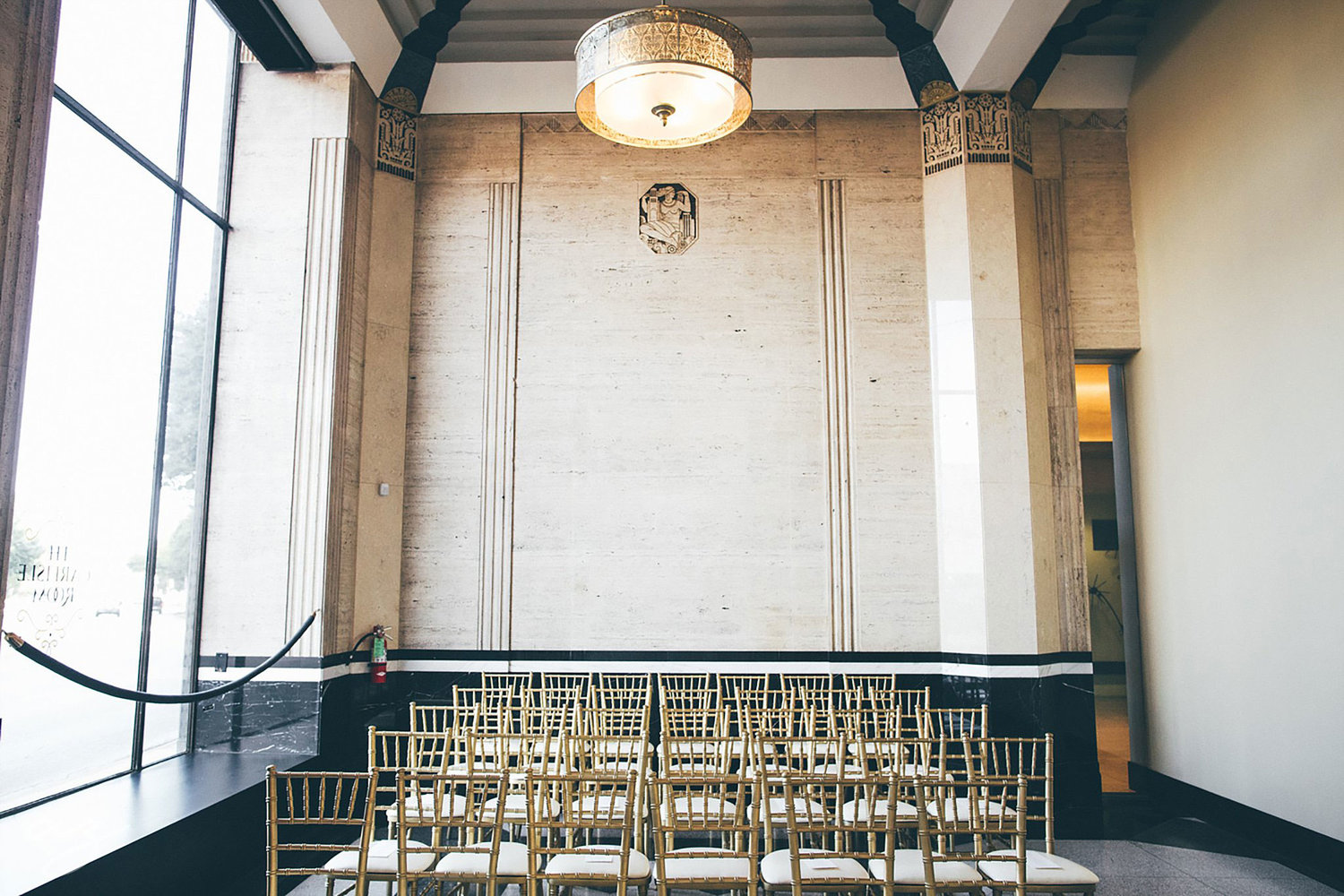 The carlisle room wedding in dallas tx emily josh carlisle room wedding ceremony chairs mozeypictures Images