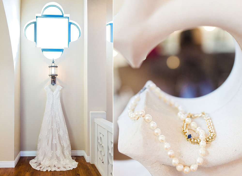 Castle at Rockwall wedding dress hung under geometric window photo