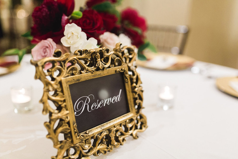 Castle at Rockwall wedding ornate gold frame for reserved tables