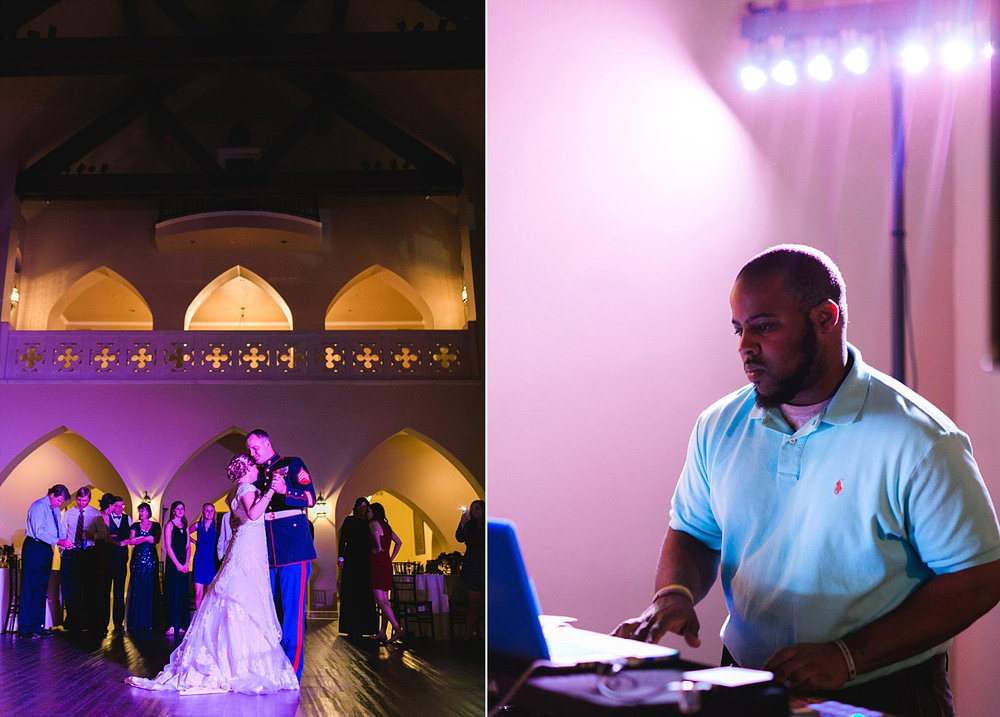 Castle at Rockwall wedding dark reception with uplights