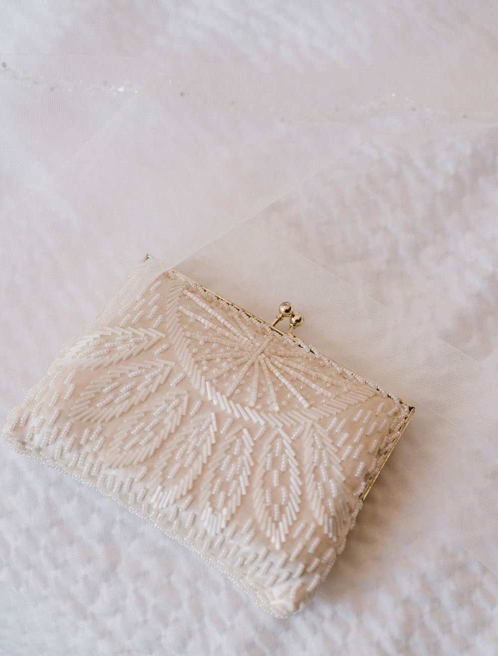 Bride beaded white purse