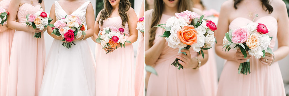Bright pink white orange and blush bouquets