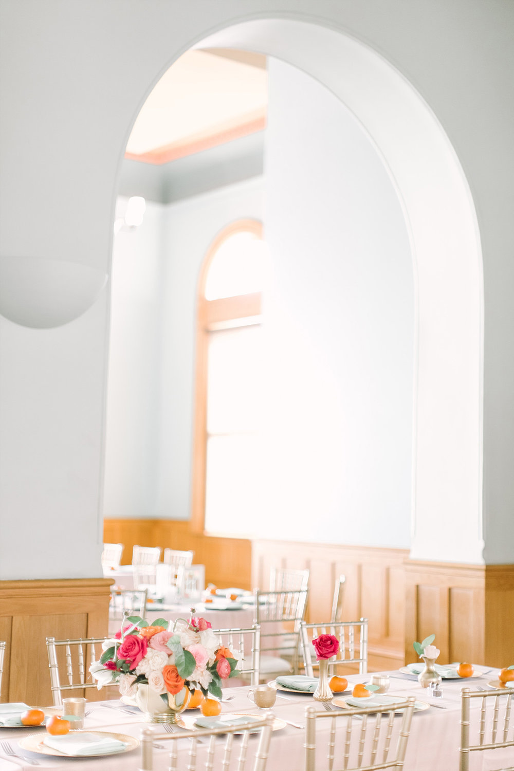 Old Red Museum wedding reception with blush and mint tables