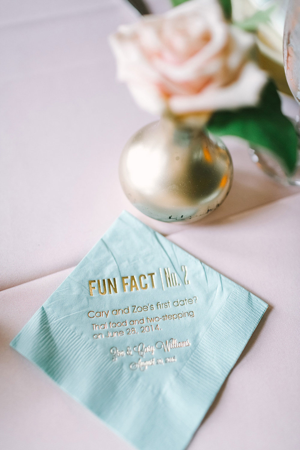 Fun fact mint cocktail napkin
