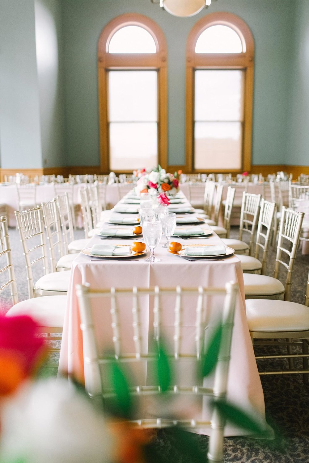 Old Red Museum wedding reception with blush tablecloths